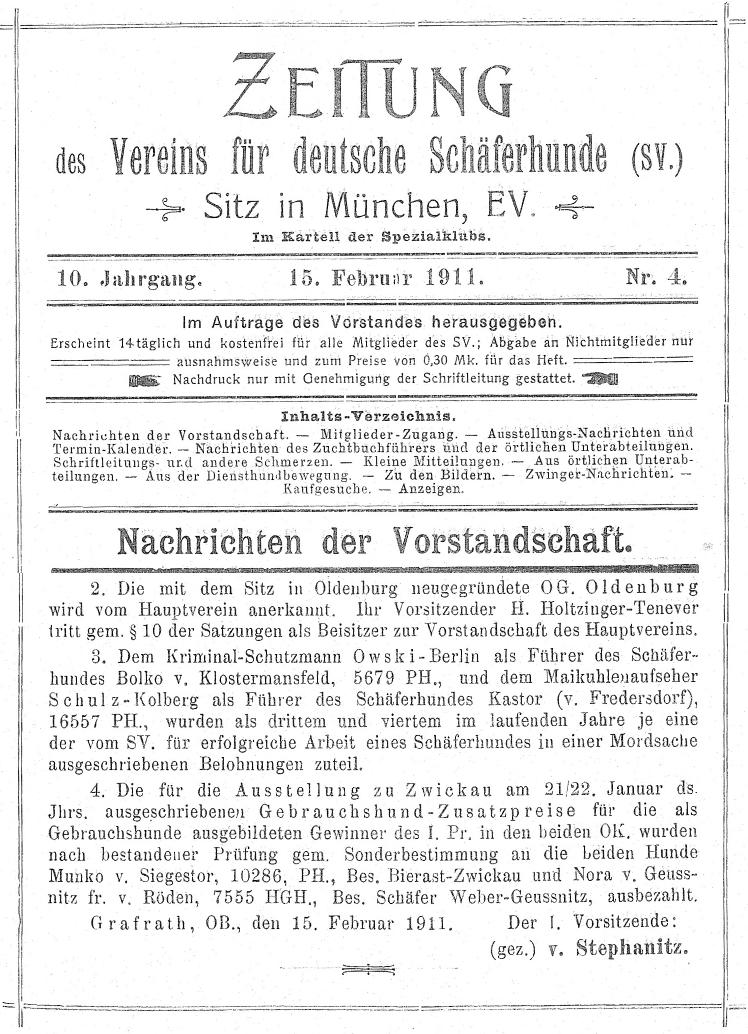 chronik – og oldenburg – verein für deutsche schäferhunde, Einladung